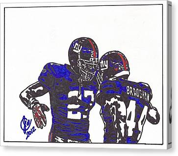 Canvas Print featuring the drawing Brandon Jacobs And Ahmad Bradshaw by Jeremiah Colley