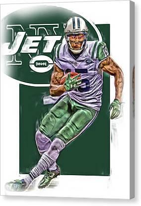 Brandon Marshall New York Jets Oil Art Canvas Print by Joe Hamilton