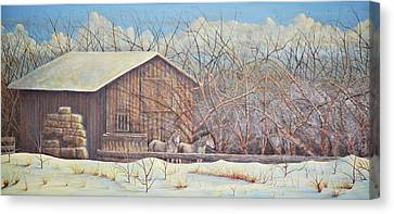 Canvas Print featuring the painting Brandon's Horses by Dusty Bahnson