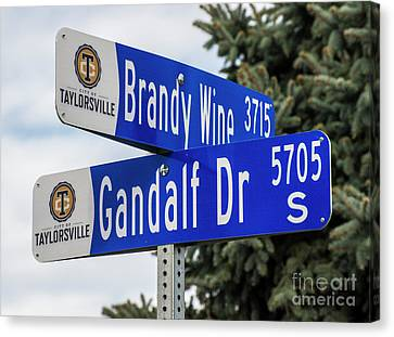 Canvas Print featuring the photograph Brandywine And Gandalf Street Signs by Gary Whitton