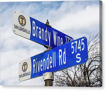 Brandywine And Rivendell Street Signs Canvas Print by Gary Whitton