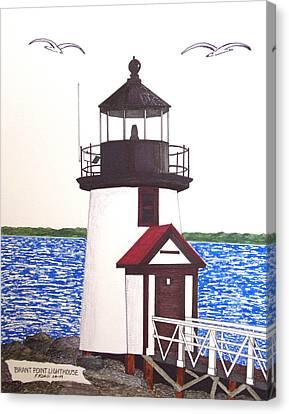 Brant Point Lighthouse At Nantucket Harbor Canvas Print by Frederic Kohli