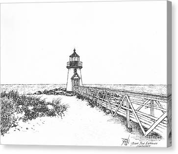 Brant Point Lighthouse Canvas Print by Dan Moran