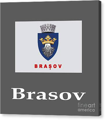 Brasov, Romania Flag And Name Canvas Print by Frederick Holiday