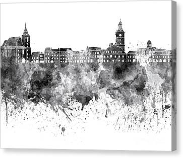 Brasov Skyline In Black Watercolor On White Background Canvas Print by Pablo Romero