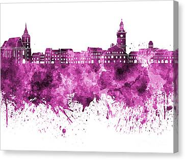 Brasov Skyline In Pink Watercolor On White Background Canvas Print by Pablo Romero