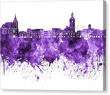 Brasov Skyline In Purple Watercolor On White Background Canvas Print by Pablo Romero