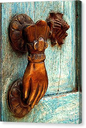 Brass Hand On The Blue Door Canvas Print by Mexicolors Art Photography