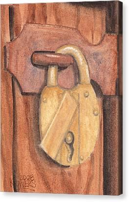 Brass Lock On Wooden Door Canvas Print by Ken Powers