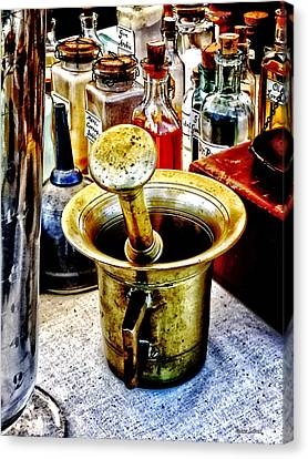 Brass Mortar And Pestle With Handles Canvas Print