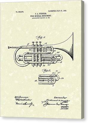 Brass Musical Instrument 1906 Patent Canvas Print by Prior Art Design