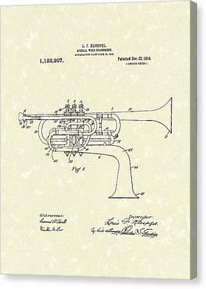 Brass Musical Instrument 1914 Patent Canvas Print by Prior Art Design