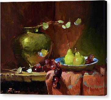 Brass, Pears And Grapes Canvas Print by Kelli Folsom