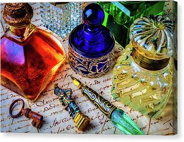 Glass Bottle Canvas Print - Brass Seal And Ink Wells by Garry Gay