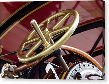 Brass Steering Wheel Canvas Print by Steev Stamford