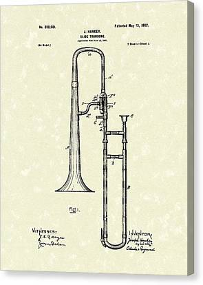 Brass Trombone Musical Instrument 1902 Patent Canvas Print by Prior Art Design