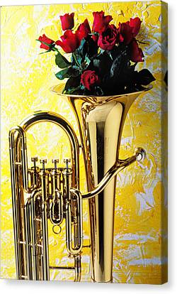 Brass Tuba With Red Roses Canvas Print by Garry Gay