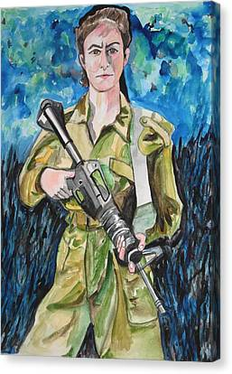 Canvas Print featuring the painting Bravado, An Israeli Woman Soldier by Esther Newman-Cohen
