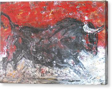 Canvas Print featuring the painting Brave Black Bull by Koro Arandia