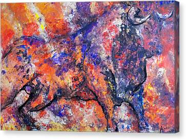 Canvas Print featuring the painting Brave Bull by Koro Arandia