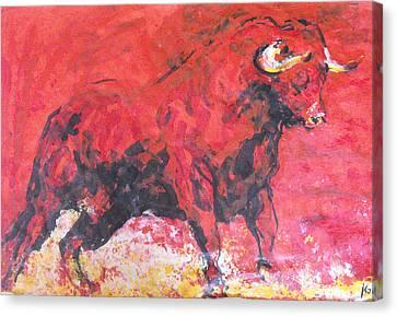 Brave Red Bull Canvas Print by Koro Arandia