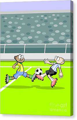 Player Canvas Print - Brazil And Argentina Face In A Soccer Match by Daniel Ghioldi