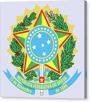Canvas Print featuring the drawing Brazil Coat Of Arms by Movie Poster Prints