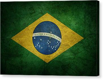 Brazil Flag Canvas Print by Les Cunliffe