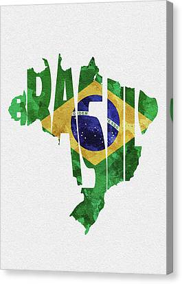 Rustic Canvas Print - Brazil Typographic Map Flag by Inspirowl Design
