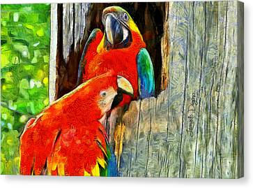 Brazilian Arara At Home  - Van Gogh Style -  - Da Canvas Print by Leonardo Digenio