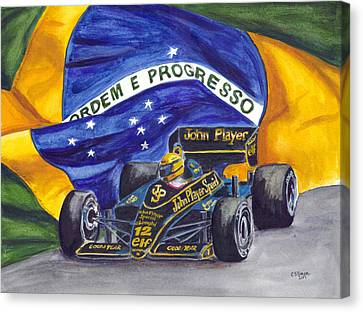 Go Cart Canvas Print - Brazil's Ayrton Senna by Clara Sue Beym