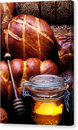 Foodstuffs Canvas Print - Bread And Honey by Garry Gay