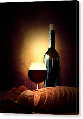 Bread And Wine Canvas Print by Lourry Legarde