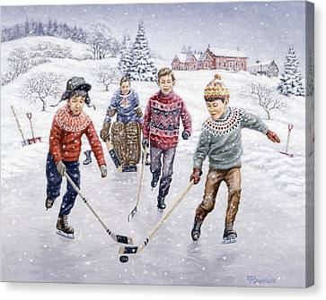 Pond Hockey Canvas Print - Breakaway by Richard De Wolfe
