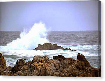 Breaker Wave Monterey California Canvas Print by Barbara Snyder