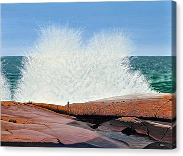 Canvas Print featuring the painting Breakers On Georgian Bay by Kenneth M  Kirsch