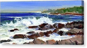 Breakers On The Point Canvas Print by Mary Byrom