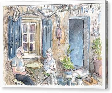 Breakfast Al Fresco Canvas Print by Tilly Strauss