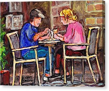 Breakfast At The Bistro Paris Style Cafe Original Quebec Art Carole Spandau Canvas Print by Carole Spandau