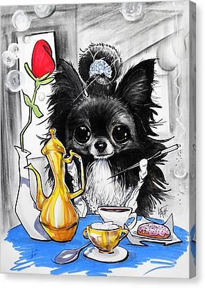 Caricature Canvas Print - Breakfast At Tiffany's Papillon Caricature Art Print by John LaFree