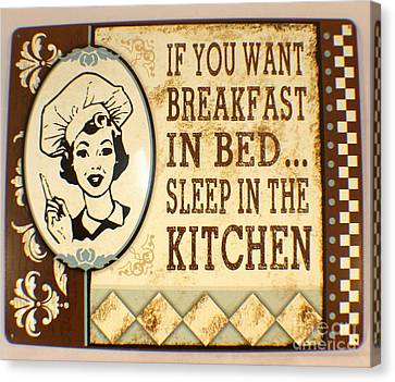 Breakfast In Bed Canvas Print by Pg Reproductions
