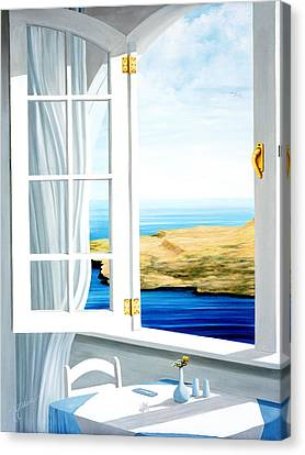 Breakfast In Santorini - Prints From Original Oil Painting Canvas Print by Mary Grden\'s Baywood Gallery