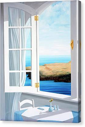 Breakfast In Santorini - Prints Made From Original Oil Painting Canvas Print