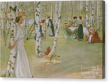 Breakfast In The Open, 1910 Canvas Print by Carl Larsson