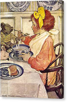 Breakfast With Teddy Canvas Print by Jessie Wilcox Smith