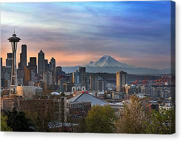 Breaking Dawn In Seattle Canvas Print