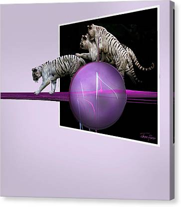 Breaking Out White Tigers Canvas Print by Jackie Flaten