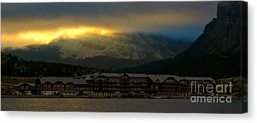 Breaking Storm Clouds Over Many Glacier Canvas Print