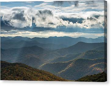 Blue Ridge Parkway Breaking Through  Canvas Print