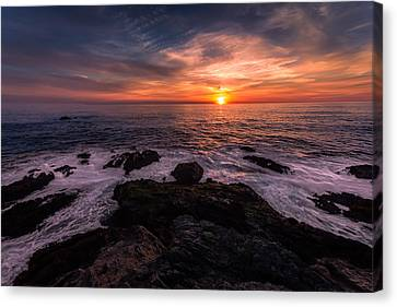 Breaking Waves At Sunset Canvas Print